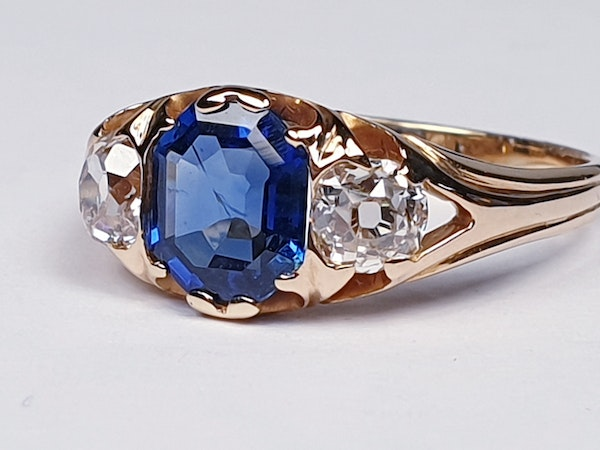Victorian Sapphire and Diamond Engagement Ring  DBGEMS - image 1
