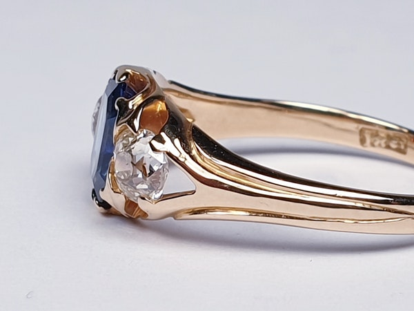 Victorian Sapphire and Diamond Engagement Ring  DBGEMS - image 2