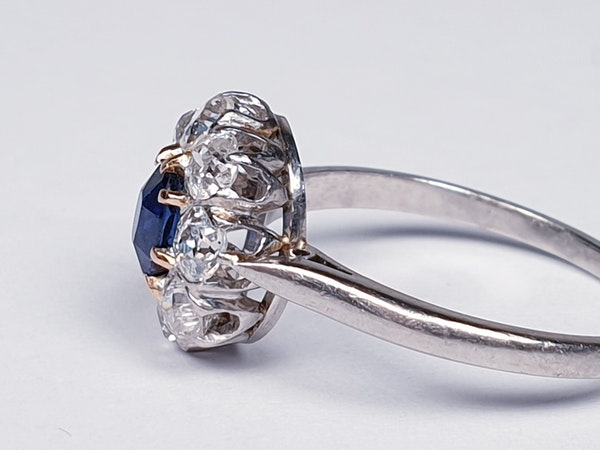 Old Cut Sapphire and Diamond Cluster Engagement Ring  DBGEMS - image 2