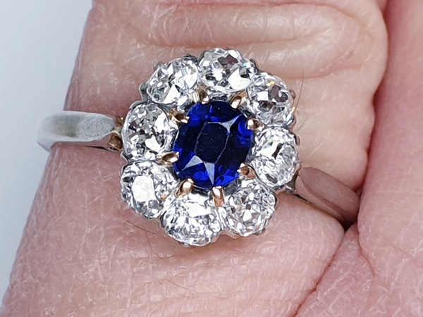 Old Cut Sapphire and Diamond Cluster Engagement Ring  DBGEMS - image 3