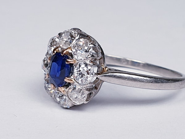 Old Cut Sapphire and Diamond Cluster Engagement Ring  DBGEMS - image 1