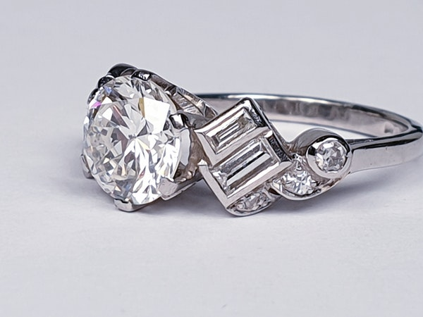 1.61ct 1930's art deco diamond engagement ring  DBGEMS - image 5