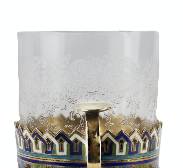 Russian Silver-Gilt and Champleve Enamel Tea Glass Holder, Andrey Bragin c.1890 - image 2