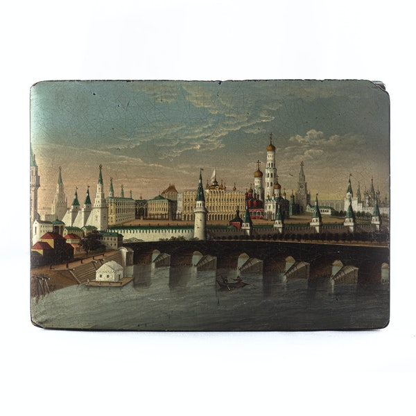 19th Century Lacquer Papier Mache Box, View of Kremlin from across Moskva River, by Lukutin Factory - image 1