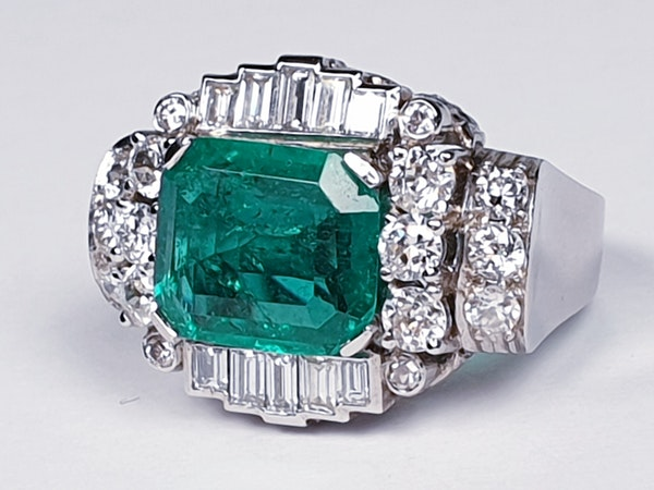 emerald and diamond 1940's cocktail ring  DBGEMS - image 4