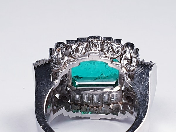 emerald and diamond 1940's cocktail ring  DBGEMS - image 2