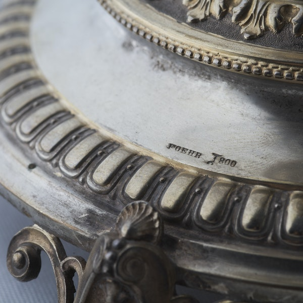 19th Century German Silver Gilt & Hand Engraved Glass Tazza - image 3