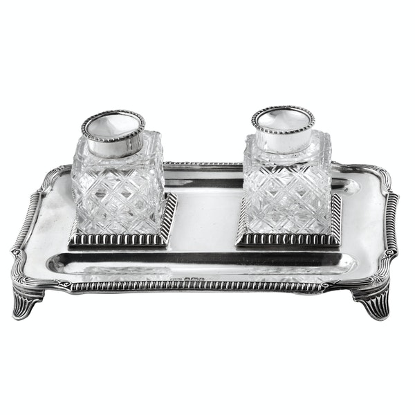 Pair of English Silver and Cut Glass Ink Wells on Stand, Sheffield 1907 - image 5