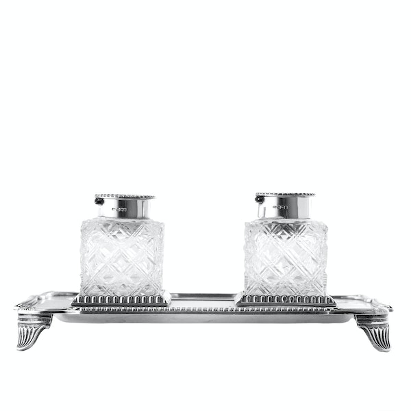 Pair of English Silver and Cut Glass Ink Wells on Stand, Sheffield 1907 - image 1