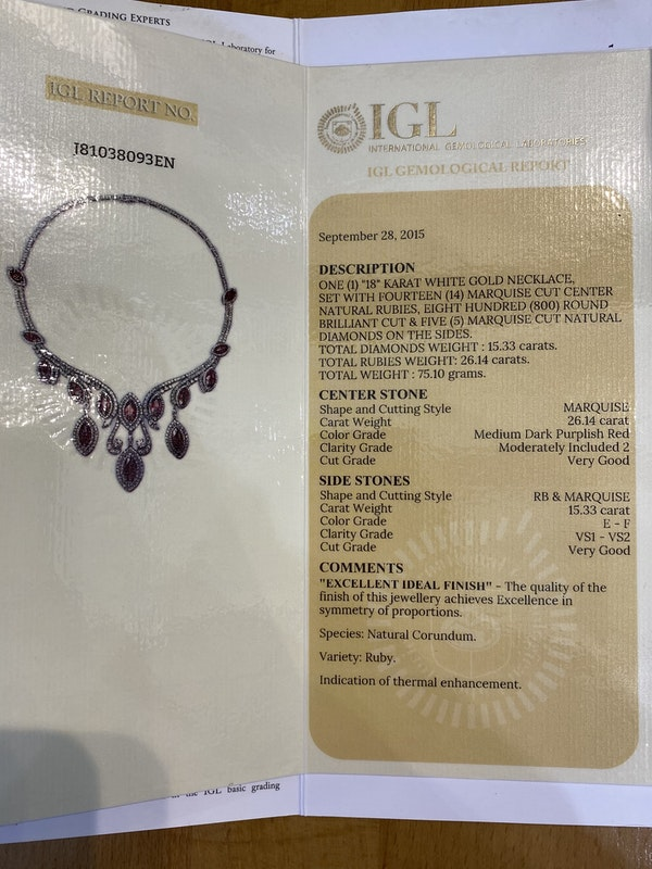 18K white gold Natural Ruby and Diamond Necklace - image 6