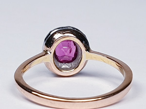 Pink sapphire and rose cut diamond cluster ring DBGEMS - image 3