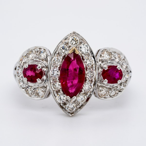 18K white gold 0.80ct Natural Ruby and 1.00ct Diamond Ring - image 1