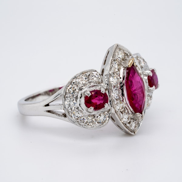 18K white gold 0.80ct Natural Ruby and 1.00ct Diamond Ring - image 2