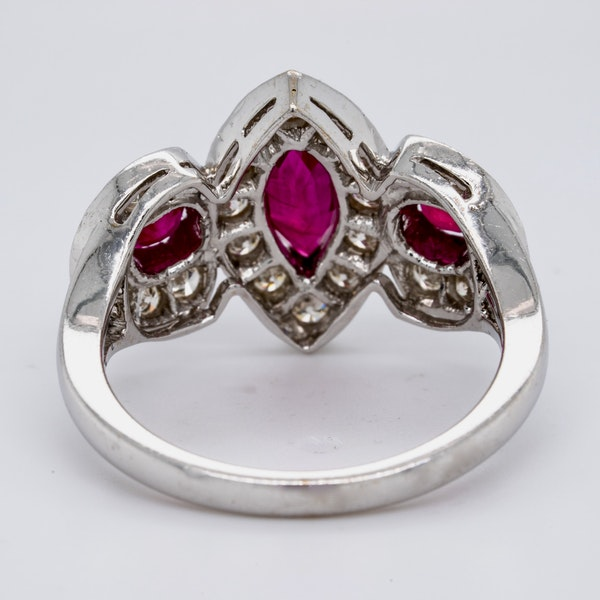 18K white gold 0.80ct Natural Ruby and 1.00ct Diamond Ring - image 4