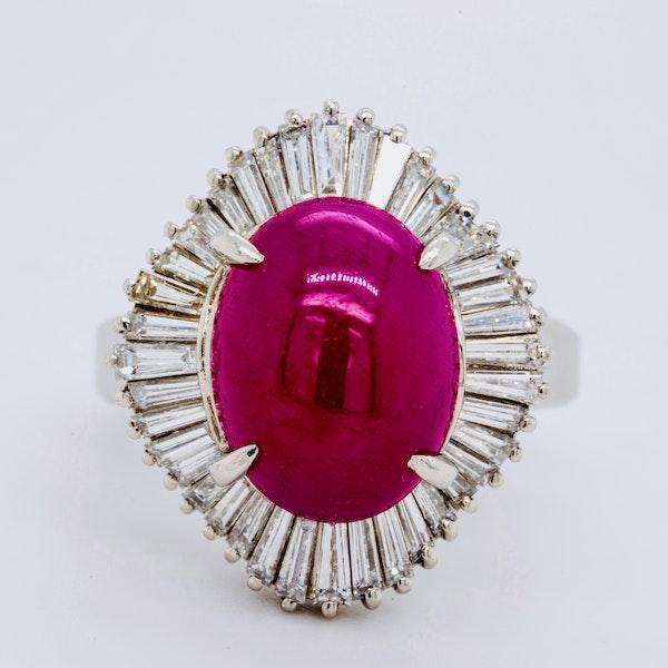 Platinum 7.07ct Natural Cabochon Ruby and 1.22ct Diamonds Ring. - image 1