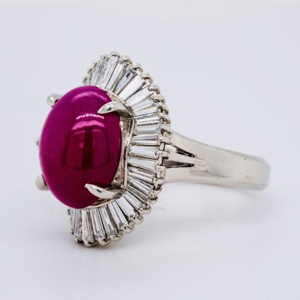 Platinum 7.07ct Natural Cabochon Ruby and 1.22ct Diamonds Ring. - image 3