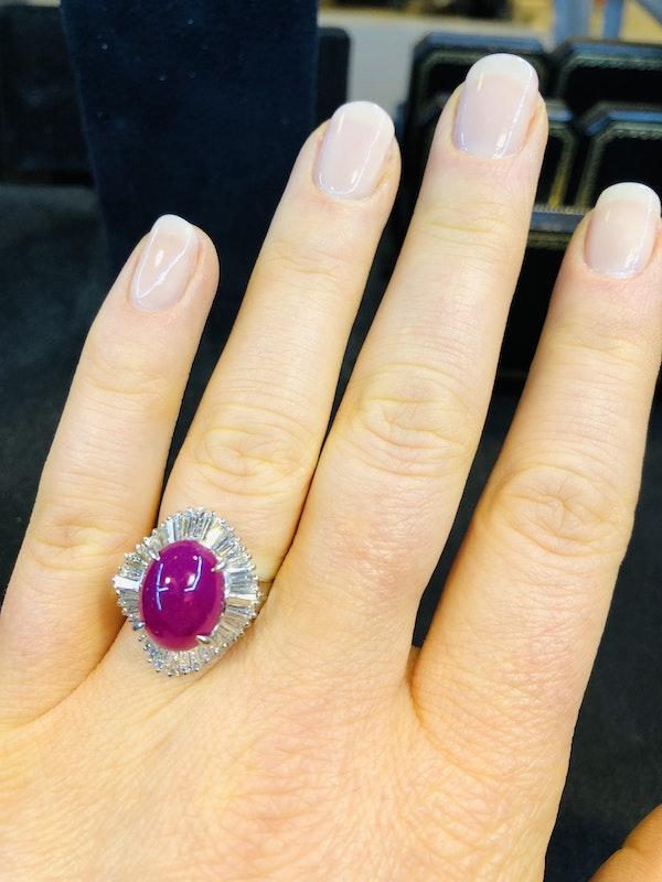 Platinum 7.07ct Natural Cabochon Ruby and 1.22ct Diamonds Ring. - image 5