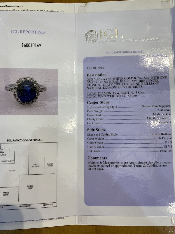 18K white gold 5.46ct Natural Blue Sapphire and Diamond Ring - image 4