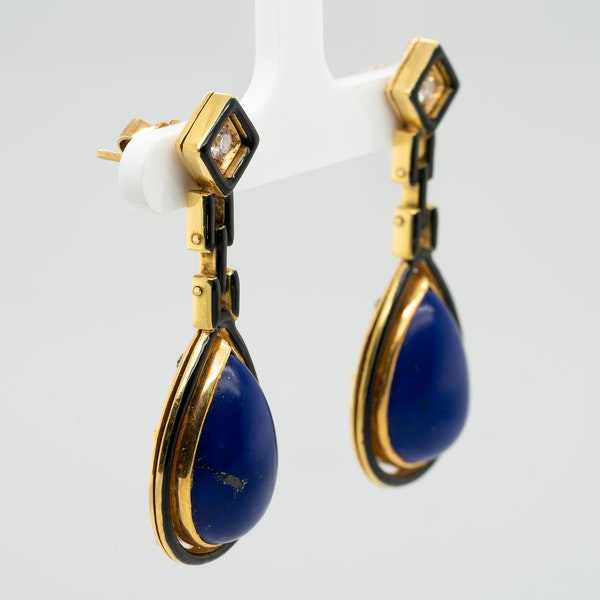A good pair of lapis,black enamel and diamond earrings - image 2