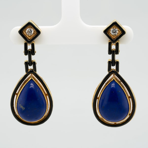 A good pair of lapis,black enamel and diamond earrings - image 1