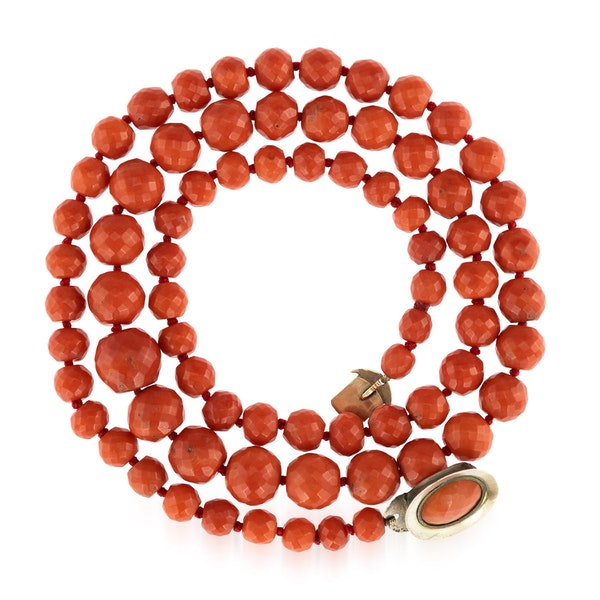 A rare row of large C19 th Mediterranean coral beads - image 1