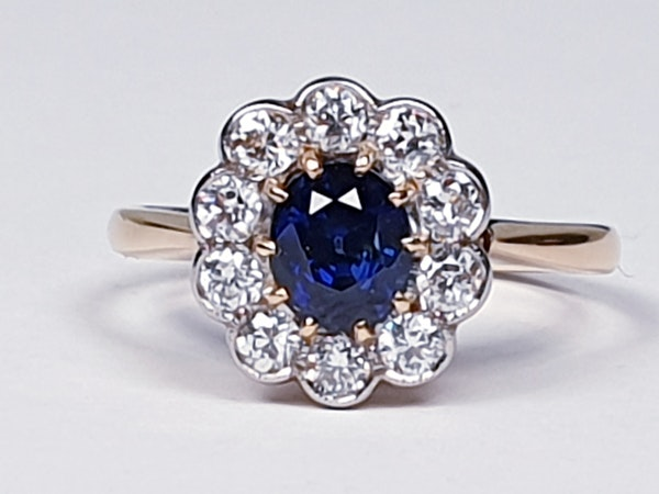 19th century antique sapphire and diamond cluster engagement ring  DBGEMS - image 1