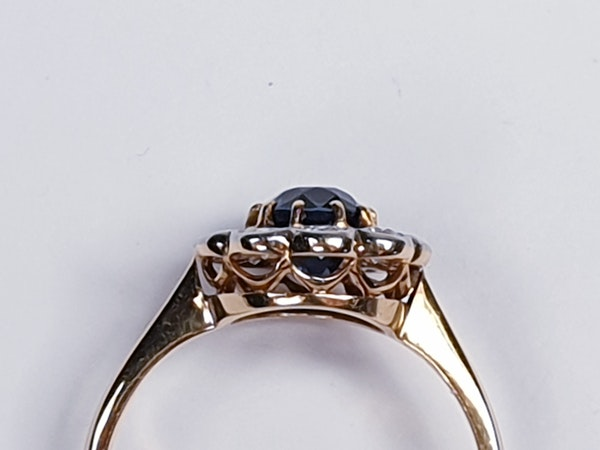 19th century antique sapphire and diamond cluster engagement ring  DBGEMS - image 2