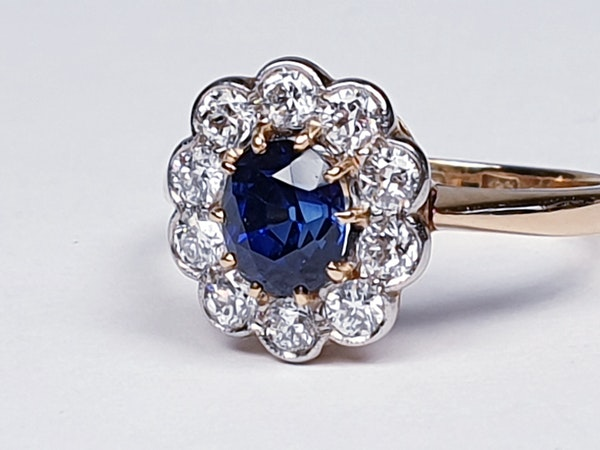 19th century antique sapphire and diamond cluster engagement ring  DBGEMS - image 5