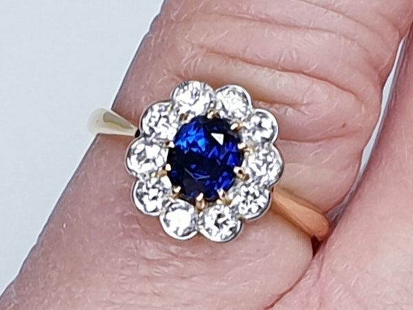 19th century antique sapphire and diamond cluster engagement ring  DBGEMS - image 3