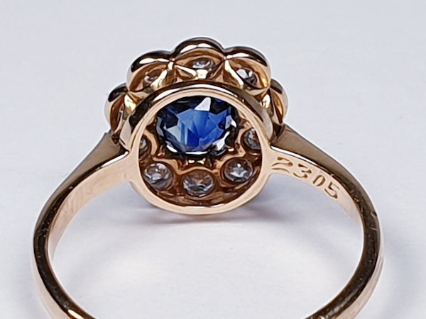 19th century antique sapphire and diamond cluster engagement ring  DBGEMS - image 4