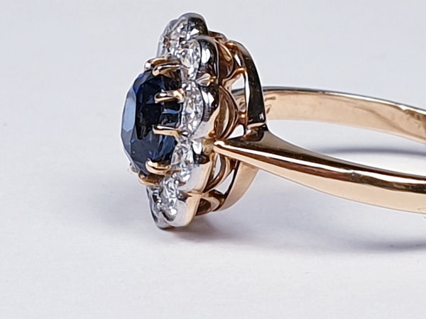 19th century antique sapphire and diamond cluster engagement ring  DBGEMS - image 6