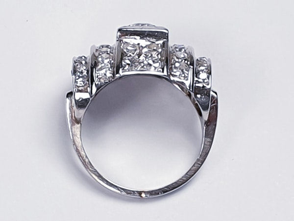 1940's French Diamond Architectural Modernist Ring  DBGEMS - image 4