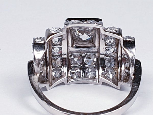 1940's French Diamond Architectural Modernist Ring  DBGEMS - image 3
