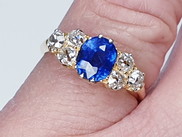 Electric ceylon sapphire and old mine cut diamond engagement ring  DBGEMS - image 2