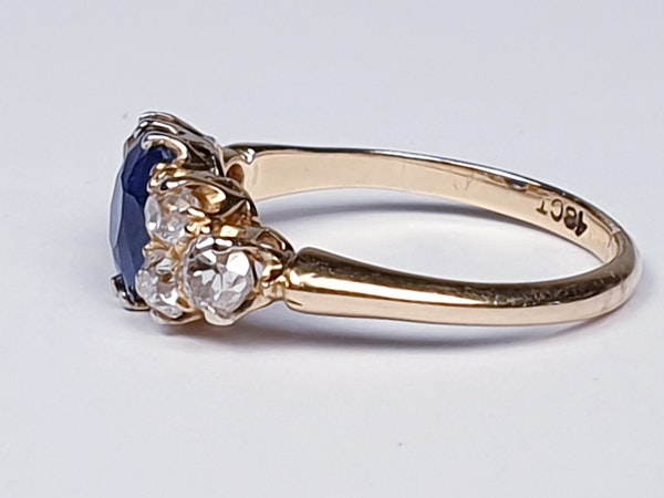Electric ceylon sapphire and old mine cut diamond engagement ring  DBGEMS - image 4