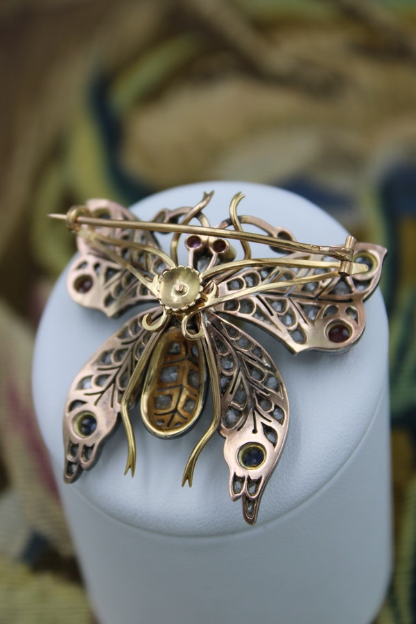 An exceptional Pearl, Ruby, Sapphire & Diamond Butterfly Brooch in Silver Tipped 18 Carat Yellow Gold, French, Circa 1880 - image 2