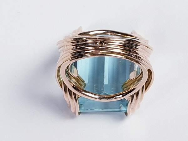 French 1960's chic Aquamarine dress ring  DBGEMS - image 1