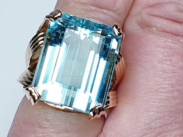 French 1960's chic Aquamarine dress ring  DBGEMS - image 2