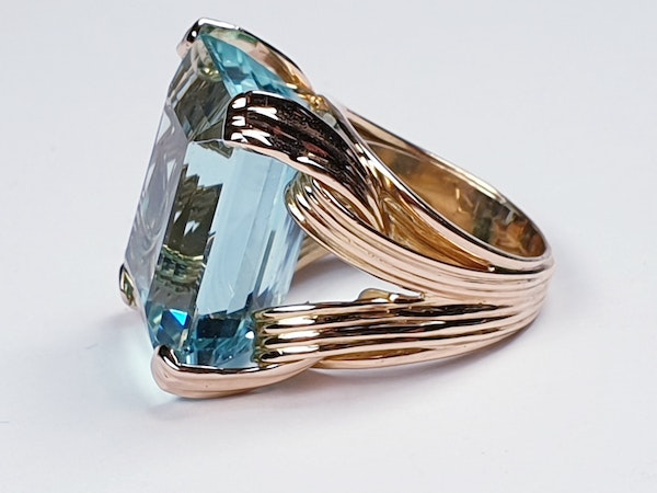 French 1960's chic Aquamarine dress ring  DBGEMS - image 3