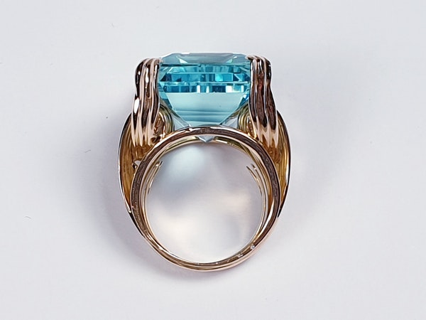 French 1960's chic Aquamarine dress ring  DBGEMS - image 4