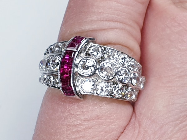 art deco diamond and ruby dress ring  DBGEMS - image 6