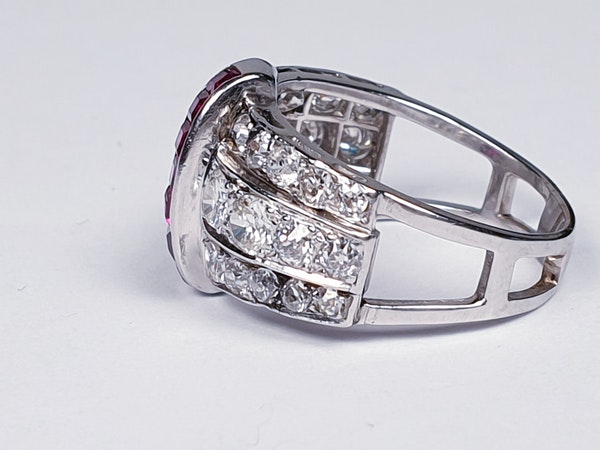 art deco diamond and ruby dress ring  DBGEMS - image 2