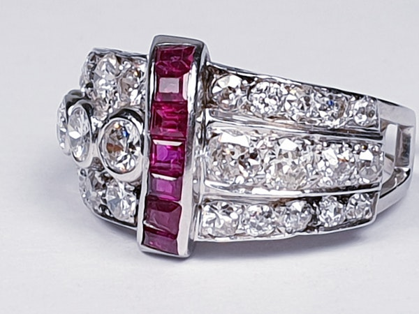 art deco diamond and ruby dress ring  DBGEMS - image 1
