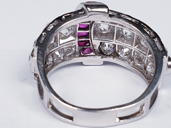 art deco diamond and ruby dress ring  DBGEMS - image 3