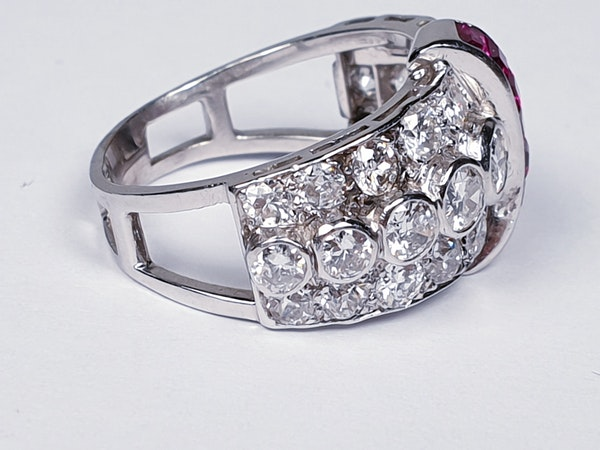 art deco diamond and ruby dress ring  DBGEMS - image 4