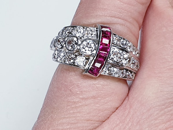 art deco diamond and ruby dress ring  DBGEMS - image 5