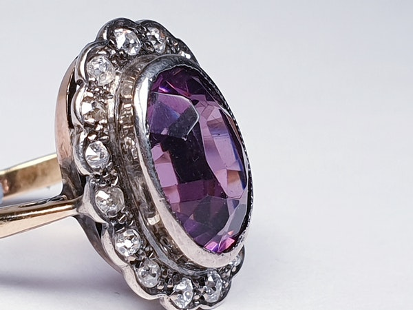 Amethyst and Diamond Cluster Ring  DBGEMS - image 2