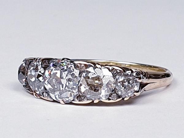 Antique five stone diamond carved half hoop engagement ring  DBGEMS - image 4