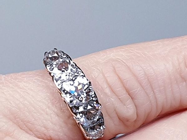 Antique five stone diamond carved half hoop engagement ring  DBGEMS - image 3