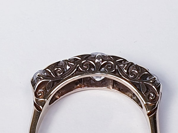 Antique five stone diamond carved half hoop engagement ring  DBGEMS - image 2